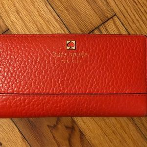 Kate Spade Snap Close Billfold Wallet In Coral Red